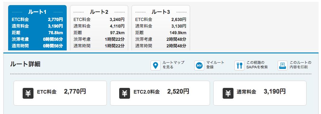 ETCでの高速料金検索について