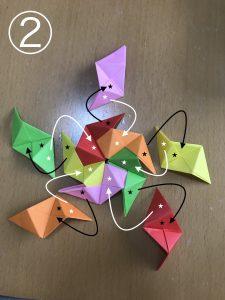 立体くす玉の折り紙組み立て2