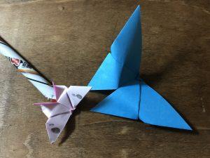 折り紙のちょうの折り方 蝶 完成